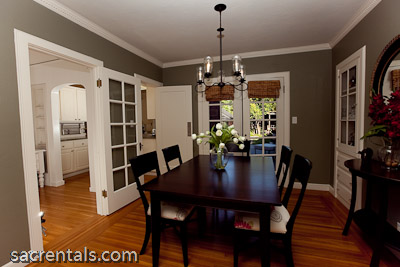 Formal Dining Room   Hardwood Floors   Chandelier Built In Dining Hutch   French  Doors With Garden Patio Access